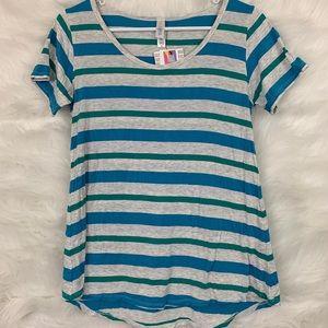 Lularoe Classic T Gray Blue Green Striped Shirt